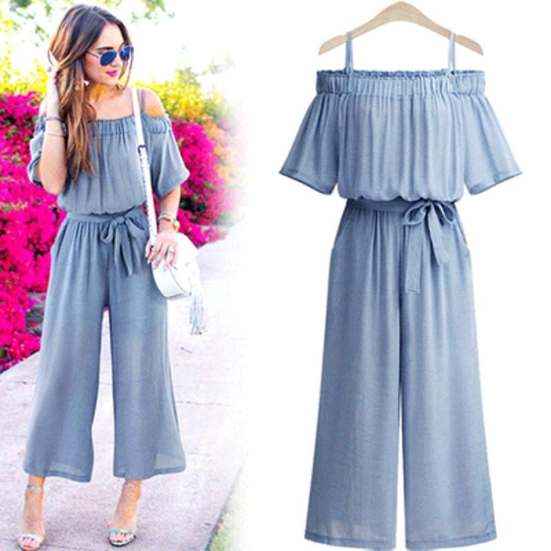 2019 New Jumpsuit Pants Women Sexy Strap Off Shoulder Elastic Waist With  Sash Wide Leg Cotton Linen Overalls Rompers Plus Size S86294 Y1891807 From  ... 7f48db66c9e3