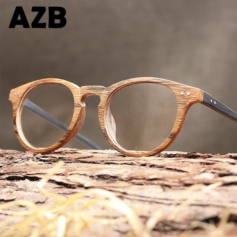 6da735f1cc2 AZB High Quality Vintage Clear Lens Glasses Cat Eye Wood Glasses Frames Men  Computer Reading Eyewear Frames For Women Spectacles Designer Sunglasses ...