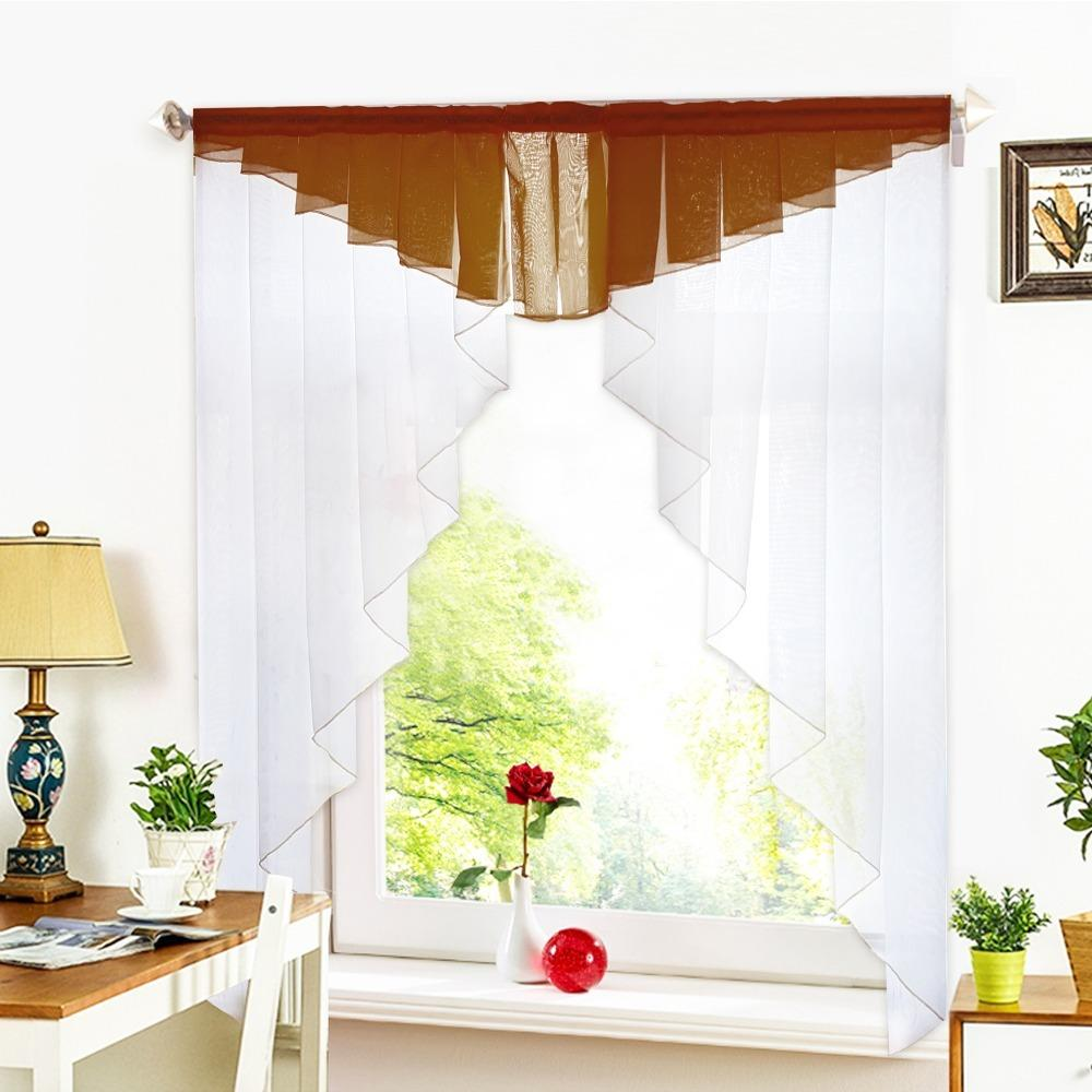 11 Colors Fashion Pleated Roman Curtain Design Stitching Colors Tulle  Balcony Kitchen Window Curtain Blind 1pc Home Curtain