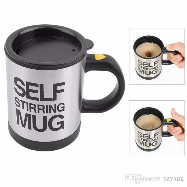 4b965a586dc Lazy Self Stirring Mug Automatic Electric Coffee Tea Mixing Cup With Lid  Stainless Steel 350ml Creative Drinkware