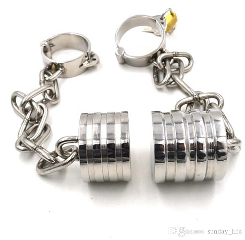 Male Chastity Cock Rings Stainless Steel Scrotum Stretching Ball Stretcher BDSM Bondage Devices Ball Weights Adult Sex Toys For Men SNA093