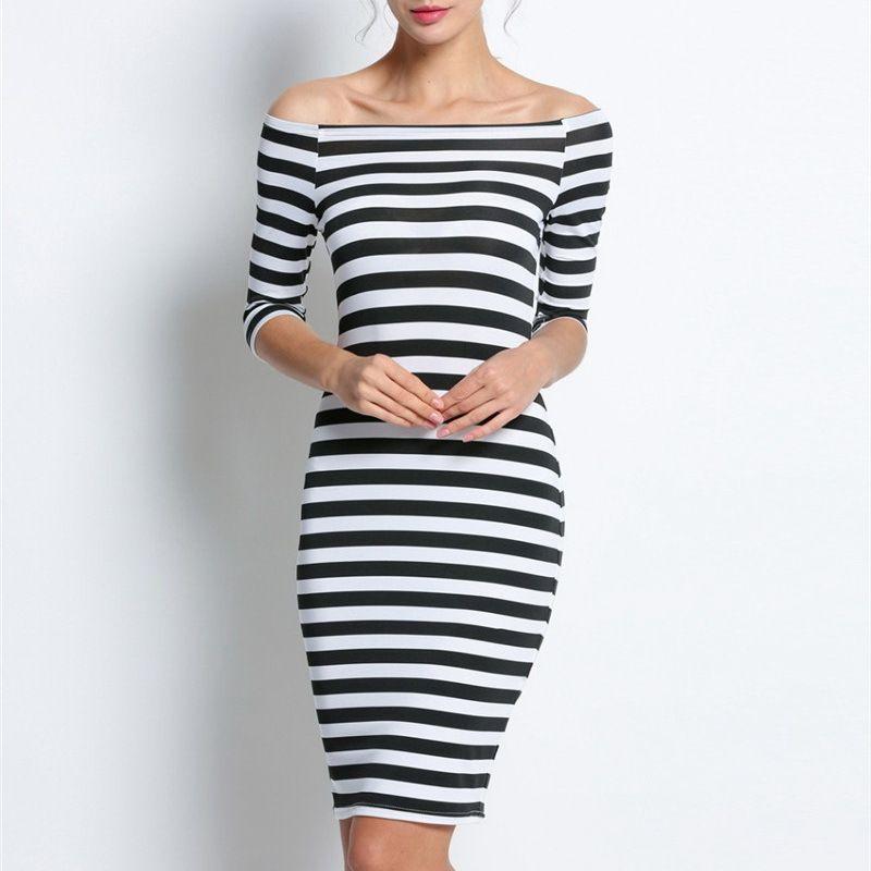 Large Size 2018 Autumn Summer Dress Big Size Black White Striped ...