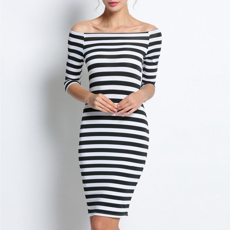 Large Size 2019 Autumn Summer Dress Big Size Black White Striped ...