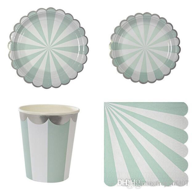 wholesale gold blocking mint green striped disposable tableware set