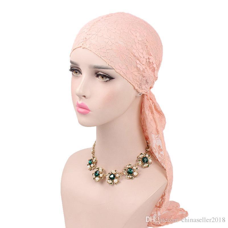 Women Floral Pattern Lace Headwear Cap Long Tail Turban Summer