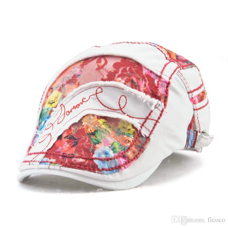 4aed17c260c Wholesale Lace Retro Graffiti Berets Baseball Caps Gentleman ...