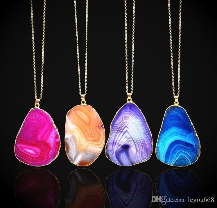 Cristal de cuarzo Collares pendientes Mujeres Jewlery piedra preciosa natural collar apto chapado en oro GA151 Cadenas de joyería collar