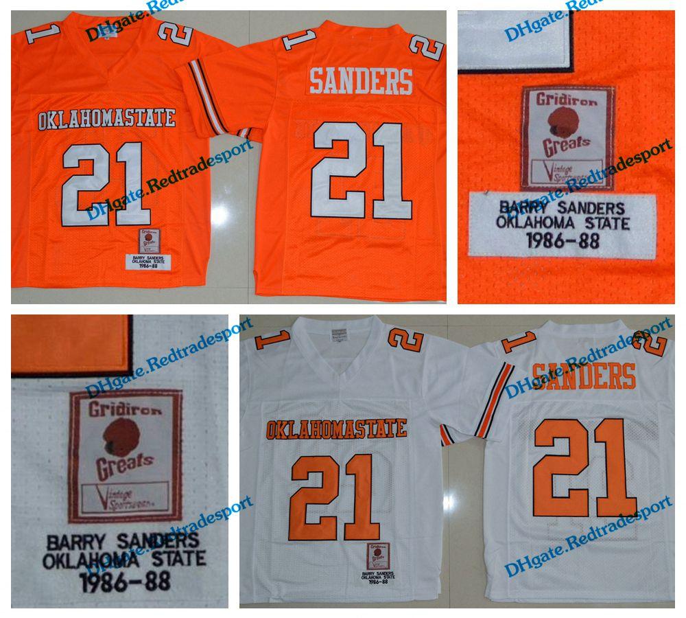 4a6112e0 1986-1988 Retro Oklahoma State Barry Sanders College Football Jerseys Cheap  Mens Retro 21 Barry Sanders University Football Shirts