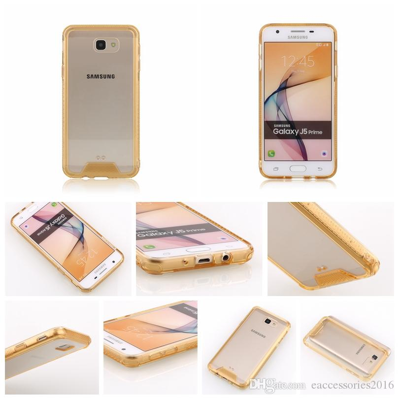 Ultra-thin Fashion Crystal Clear Acrylic Back Panel TPU Bumper Hybrid Cell Phone Case Anti-scratch Cover For Samsung On7 2015 G600 On5 2016