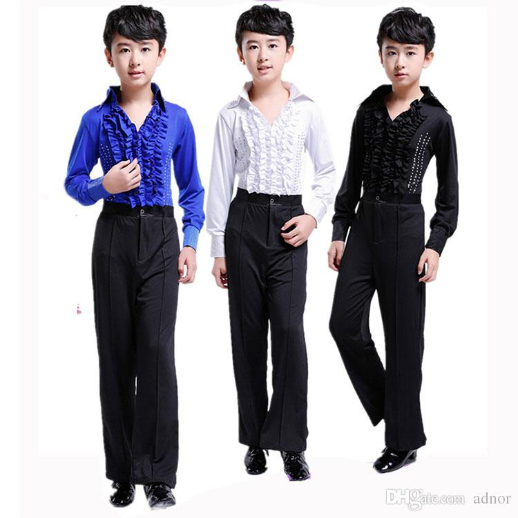 50e202a95348e Boy Latin Child Latin Dance Costume Boy Modern Waltz Dance Clothing for  Competition Kids Latin Practice Dress Ballroom Clothing