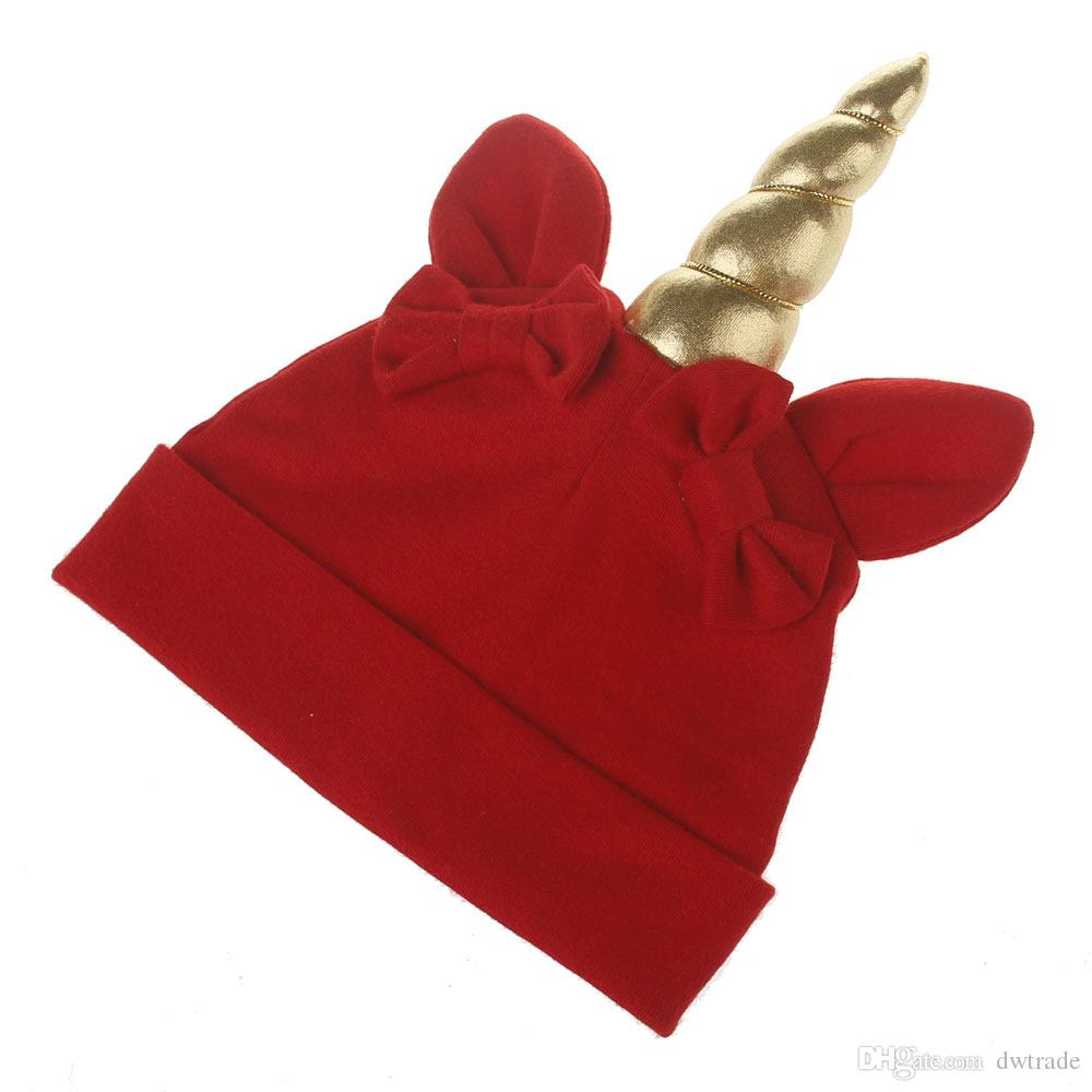 New autumn and winter Handmade Baby Unicorn Hats Children xmas Hat Knitted sleeve Head cap 6M-3T kids