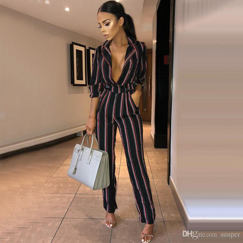 3ee0617cb5b 2019 Sexy Deep Notched V Neck Striped Jumpsuit Women 2018 Autumn Winter  Office Lady Sash Rompers Vintage Party Overalls Femme From Suuper