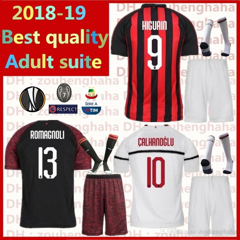 Compre Milan Kit Adulto ROMAGNOLI Uniforme De Fútbol HIGUAIN Camiseta De  Fútbol 2018 2019 Casa AWAY CALHANOGLU BONAVENTURA Suite De Fútbol Para  Adultos A ... ee12060138761