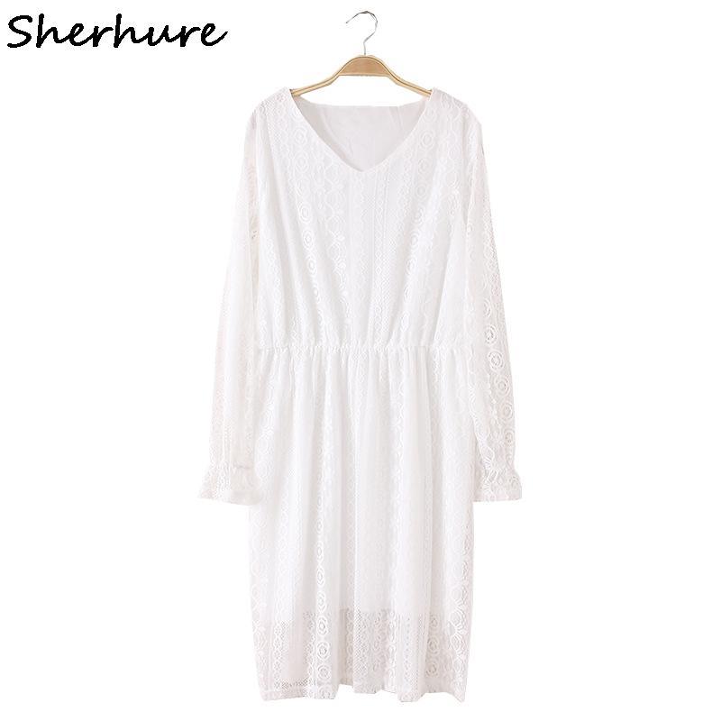 36cf881771e 2019 2018 Women Lace Dress Long Sleeve Women Summer White Party Dresses  Vestidos Vintage Crochet Plus Size 4XL 3XL Lace Dresses From Odeletta