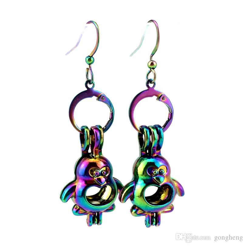 Großhandel Z599 Regenbogen Farbe Niedlichen Pinguin Schönheit Perle