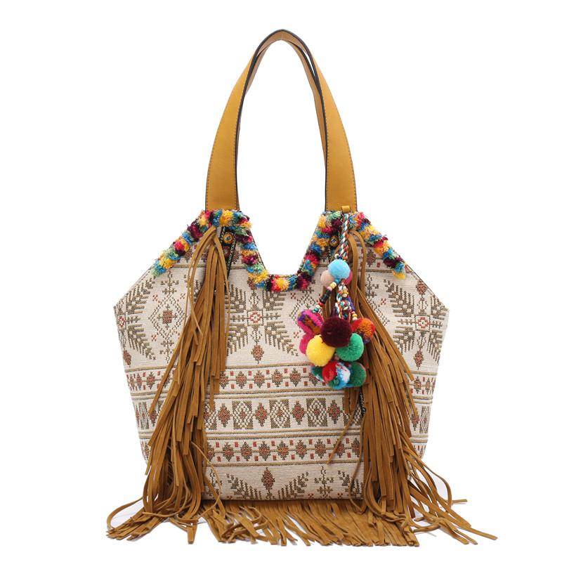a14174dc437 Embroidered Women cotton fabric Bohemian tassel Handbag canvas summer  Ethnic shoulder Bag cross body hippie massager bags