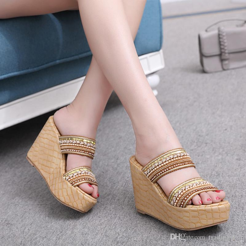04a5d24001b Light Tan Embroidery Strappy Slipper Sandals Ladies Summer Platform Wedge  High Heel Shoes 2018 Size 34 To 39 Jelly Sandals Platform Sandals From  Tradingbear ...