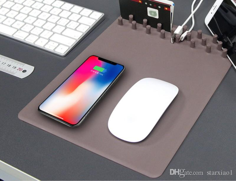 Tappetino mouse ricaricabile mouse Qi Wireless 4 in 1 iPhone X samsung phone Tappetino mouse mouse pad