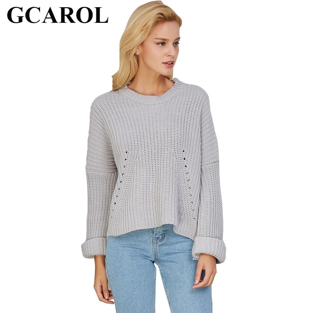e60eb9df54 GCAROL Fashion New O Neck Women Back Hollow Out Ripped Sweater For Autumn  Winter Oversize Jumper Knit Pullover Knitwear Tops UK 2019 From Donahua