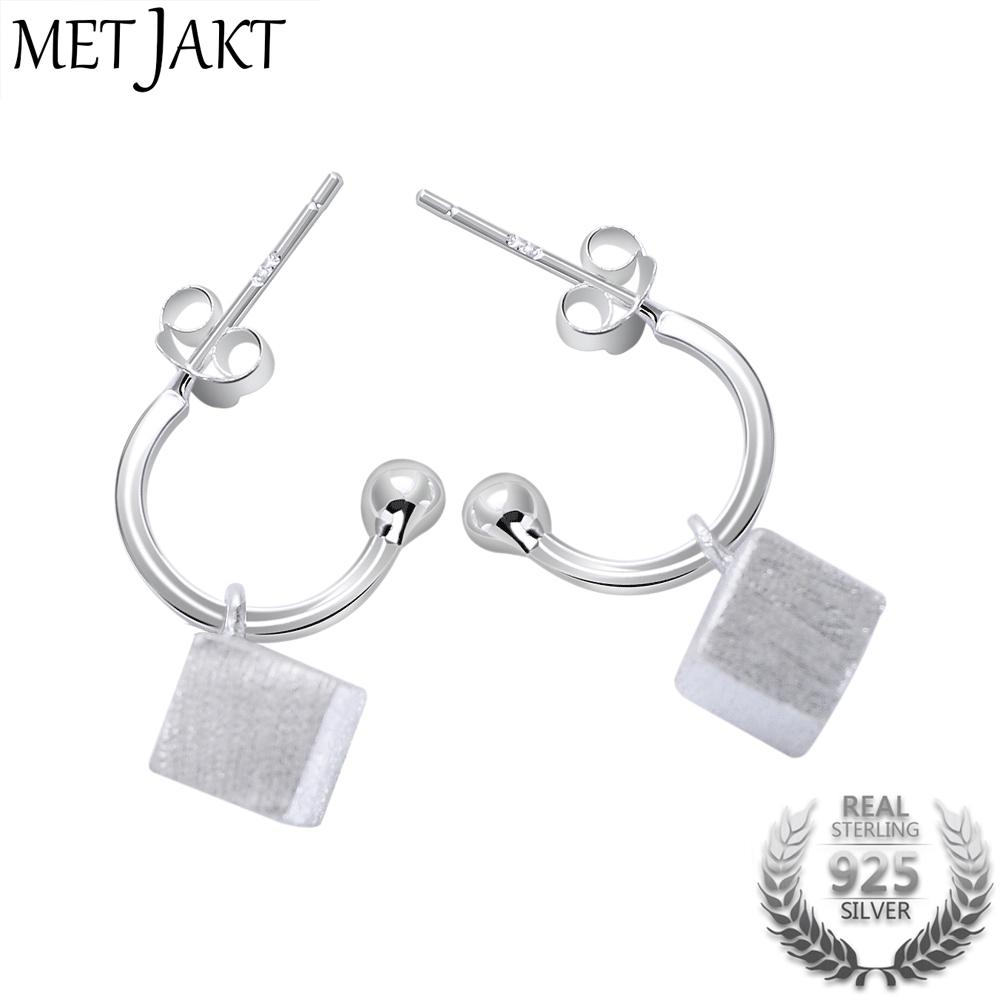 e58285a60 MetJakt Vintage Handmade Brushed Frosted Square Drop Earrings Solid ...