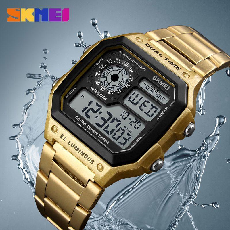 4db19a73c201 Compre SKMEI Relojes De Hombre De Negocios Reloj Casual Impermeable Reloj  De Pulsera Digital De Acero Inoxidable Relogio Masculino Erkek Kol Saati A   36.91 ...