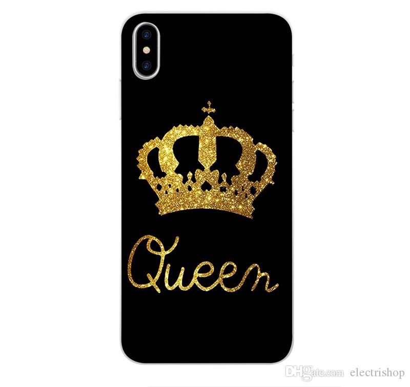 E68Fashion Brand King Queen Soft TPU Ultra Thin Back Covers For IPhone 5 5S  SE 6 6S 7 8 Plus X Phone Cases Silicone Luxury Crown Slim Shell Cell Phone  Case ... 0960cac7c5