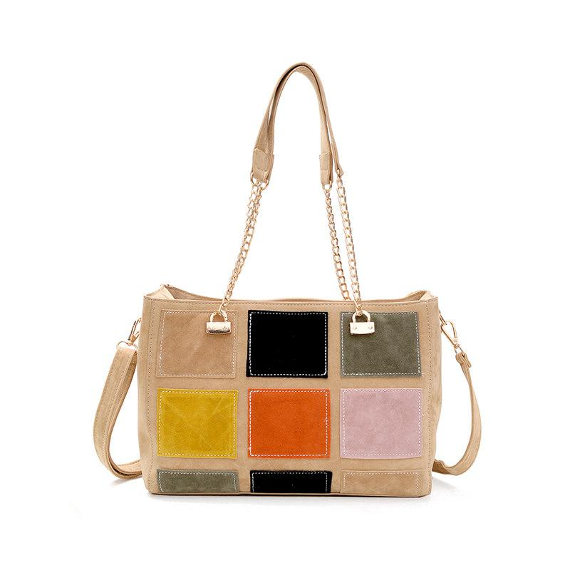 Women Wool Shoulder Bags Female Hit Color Plaid Large Casual Chain Tote Ladies Handbag Splicing Colorful Patchwork Bag Bolsa Sac