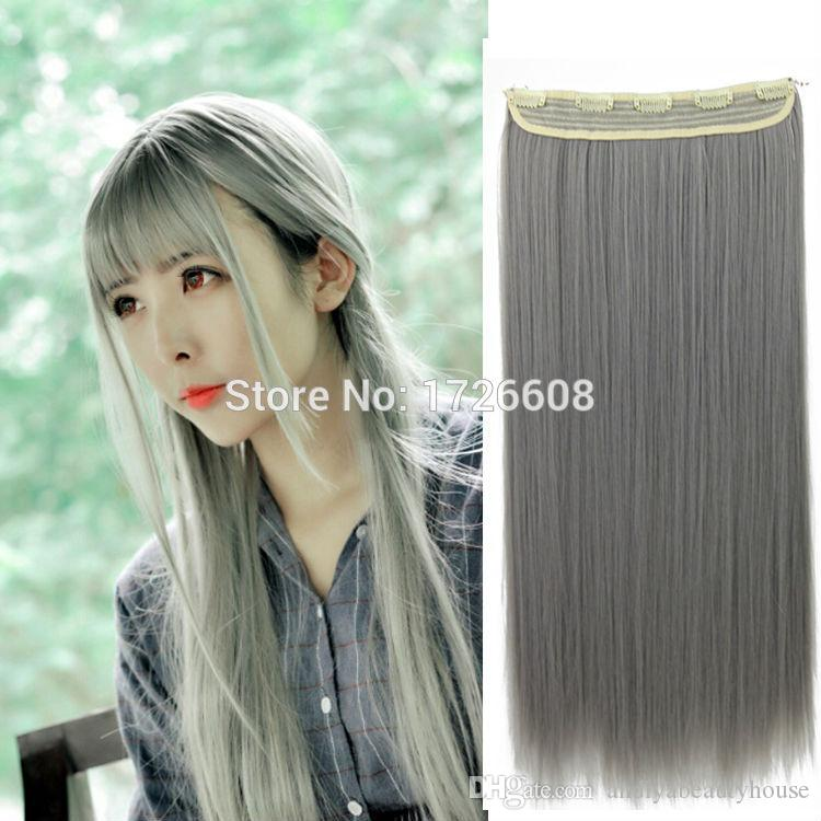 Heat Resistant Remy Synthetic Clip In Hair Extension Straight Gray Hair Extensions Highlights Hairpieces For Women Full Head