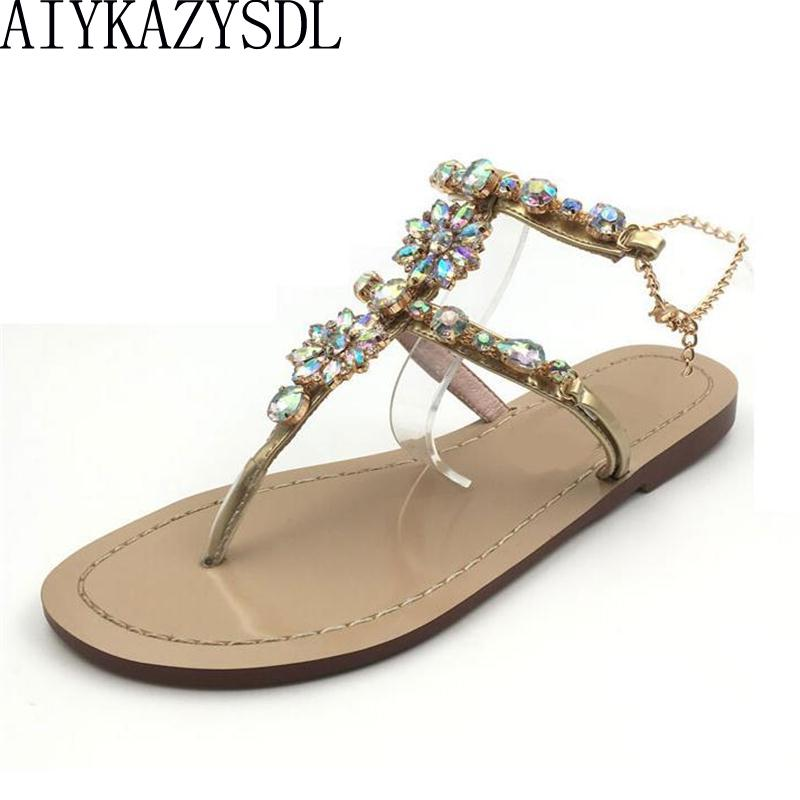 6421364bd2b82c AIYKAZYSDL Luxury Chain Shoes Woman Gladiator Sandals Women Crystal  Rhinestone Thong Flip Flop Bohemian Sandals Flats Plus Size Pumps Shoes Shoe  Sale From ...