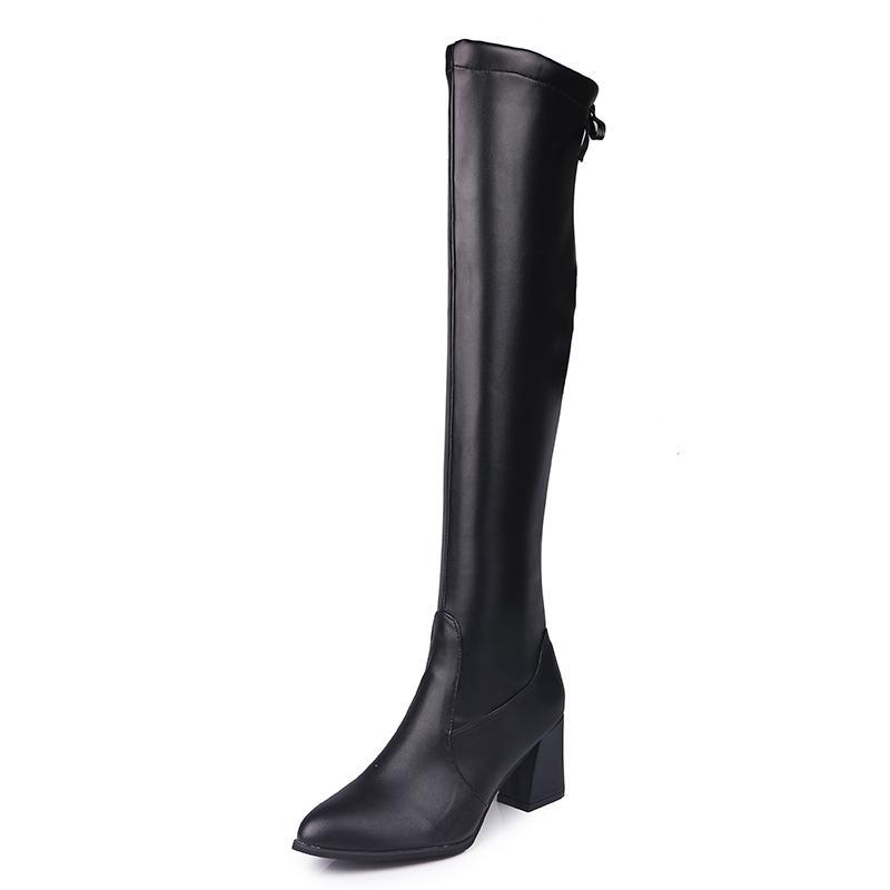 Lacets Robe À Cm Étirement Pu Tissu Chaussures 6 Noir Bottes Talons Cuir Chaussure Hiver Genoux Lady Hauts Couleur Femmes Femme sdrtChQ