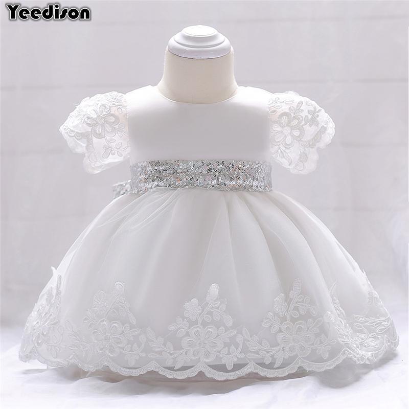 082e41d563 Compre Vestido Da Menina Do Bebê Branco Recém Nascido Vestidos De Batismo  Floral Lantejoulas Infantis Princesa Vestidos De Casamento Primeiro  Aniversário ...
