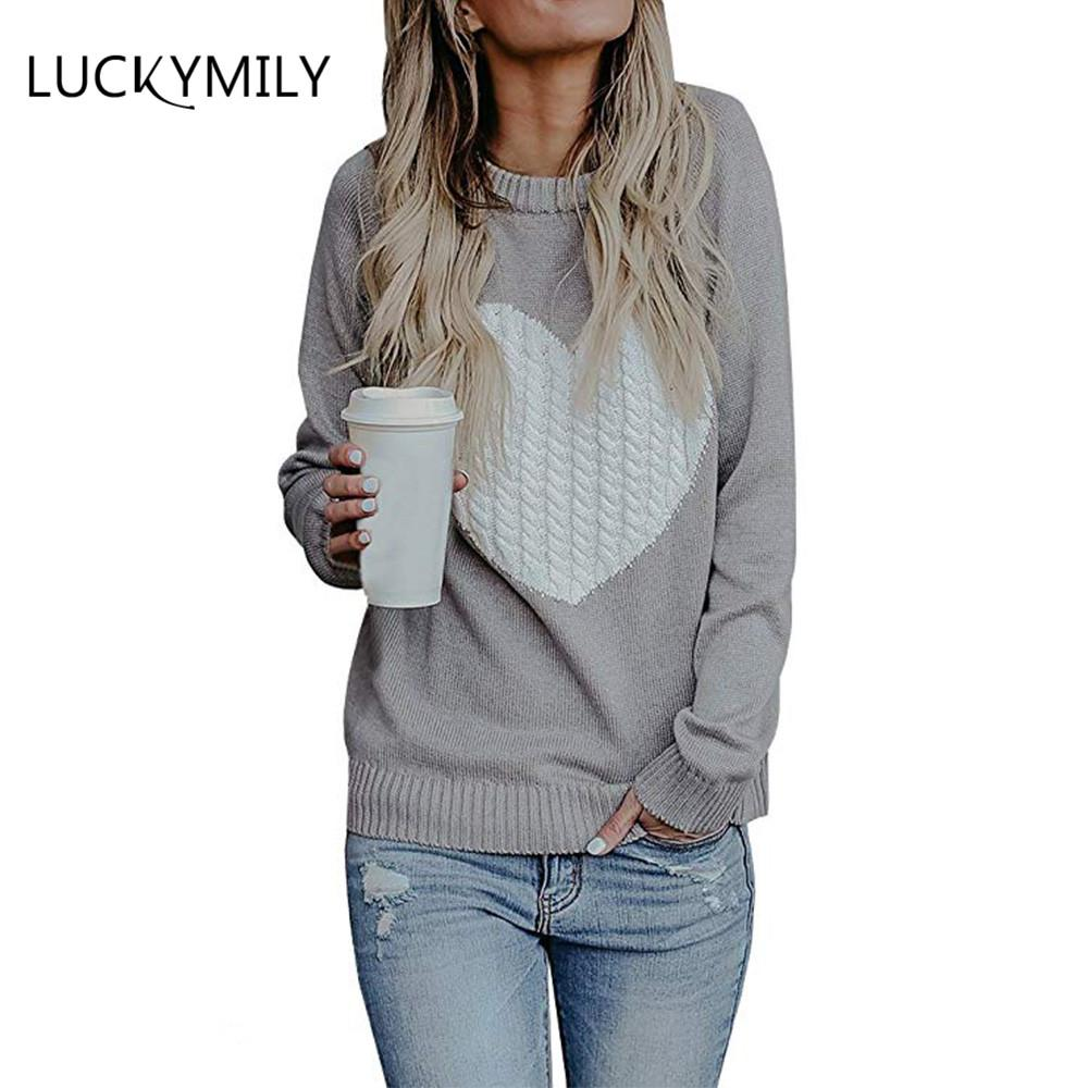 a20e68e6e438 2019 Luckymily Womens Sweaters Pullover Cute Front Heart Scoop Neck Black  Grey Knit Jumper Top For Juniors Cotton Casual Top From Elseeing