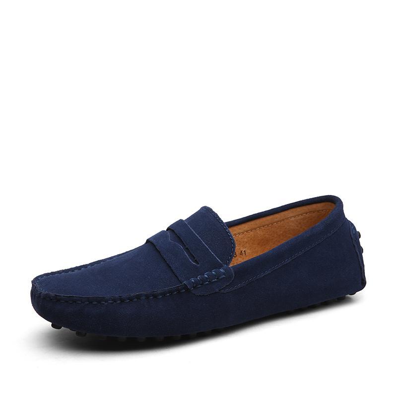 ddb0bbf3f Compre Sapatos Flats Homens Gommino Couro Genuíno Sapatos De Condução  Estilo Verão Macio Mocassins Homens Mocassins Sapatos De Barco De Alta  Qualidade ...