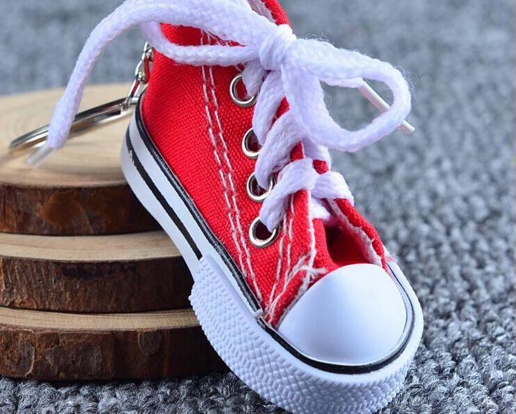 i 3D portachiavi sneaker novità scarpe di tela portachiavi scarpe portachiavi titolare ciondolo borsa favori moq 100 pz