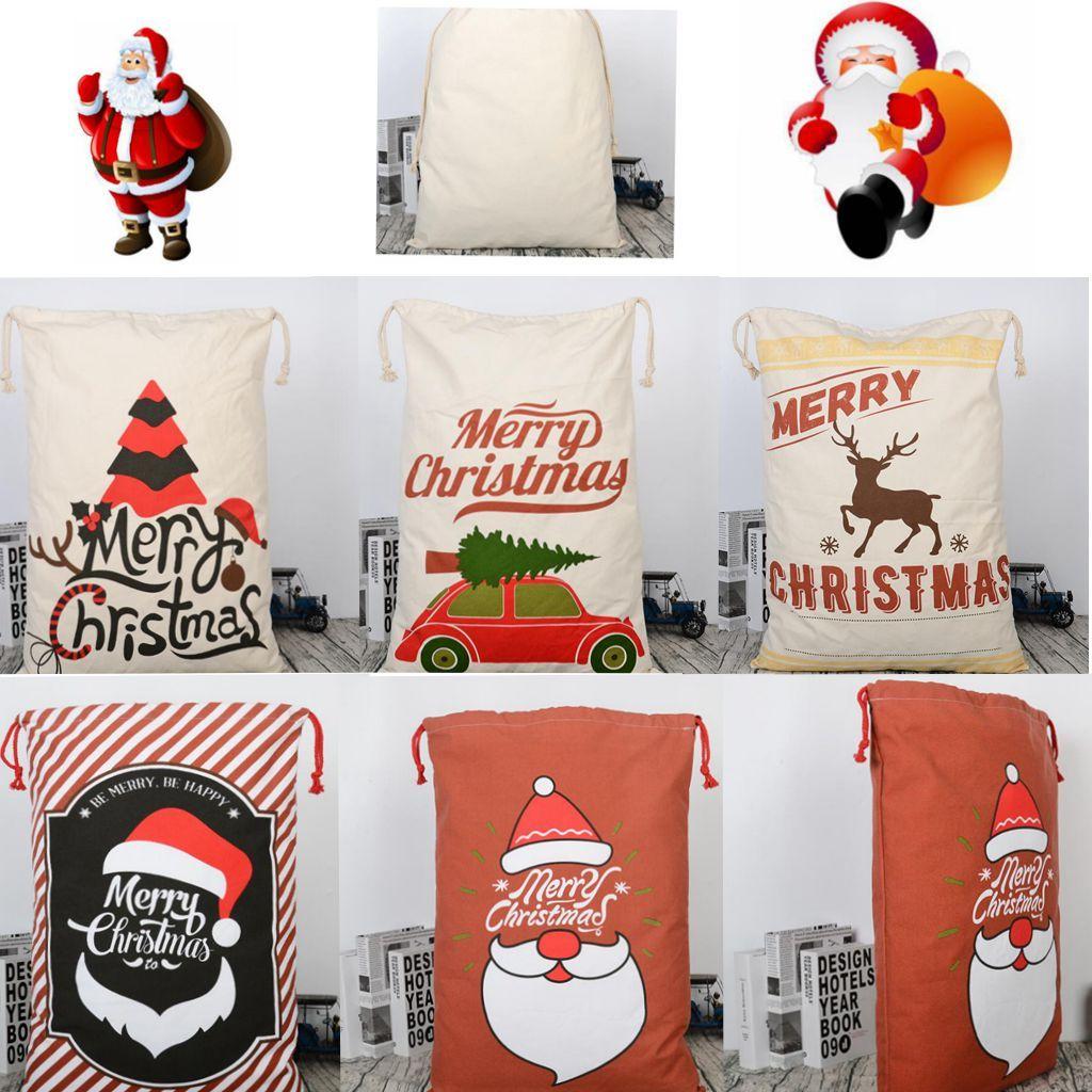 5 Design Christmas Gift Sacks Reusable Drawstring Canvas Bag ...