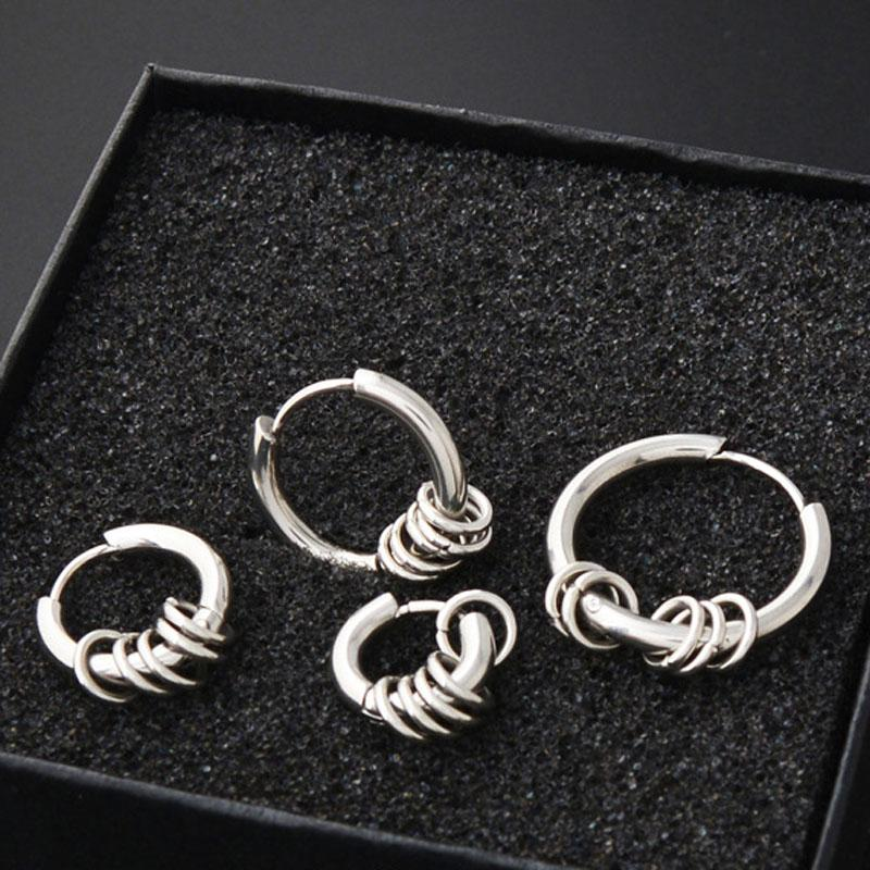 whole sale2 pieces Gold Silver Stainless Steel Round Hoop Earrings Circle Ear Cute Jewelry