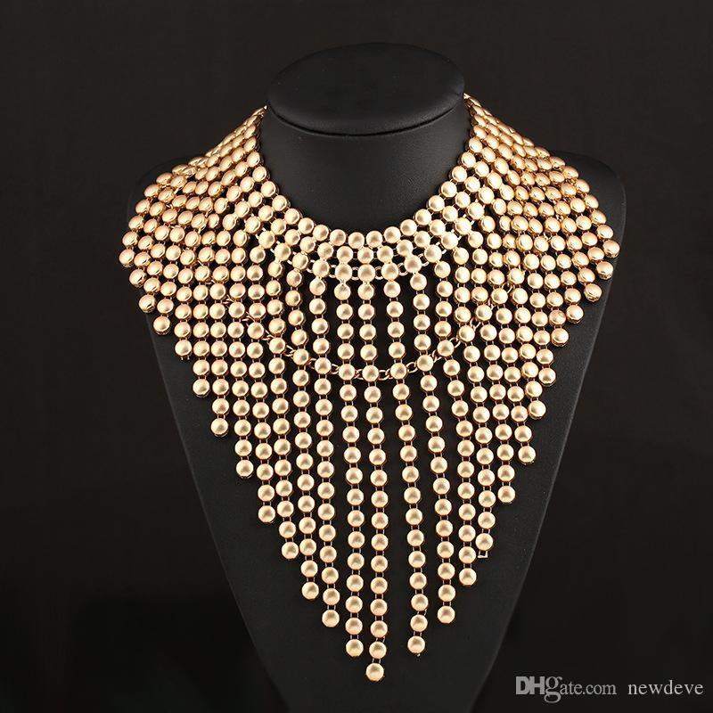 Fashion Alloy Chains Tassels Gold Necklaces Bridal Jewelry For Weddings Prom Dresses Special Events Bridal Accessories For Brides