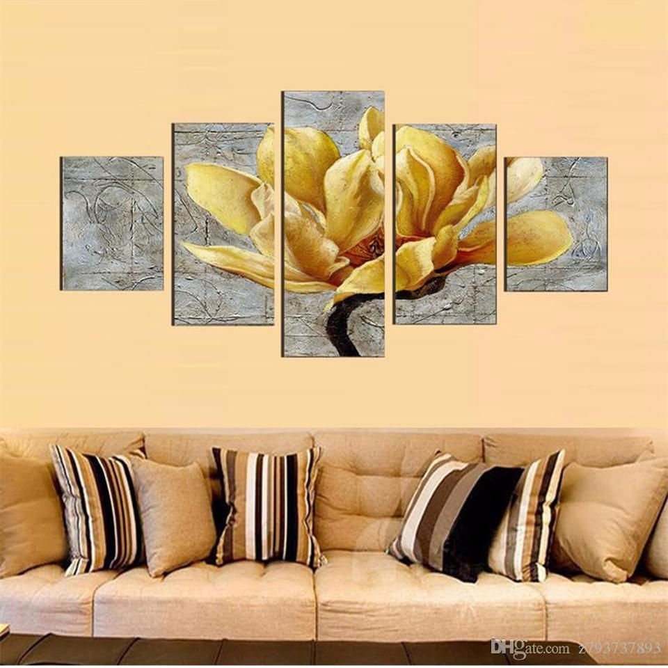 2018 Modern Painting Wall Art Hd Printed 5 Panel Waterfall And Tree ...