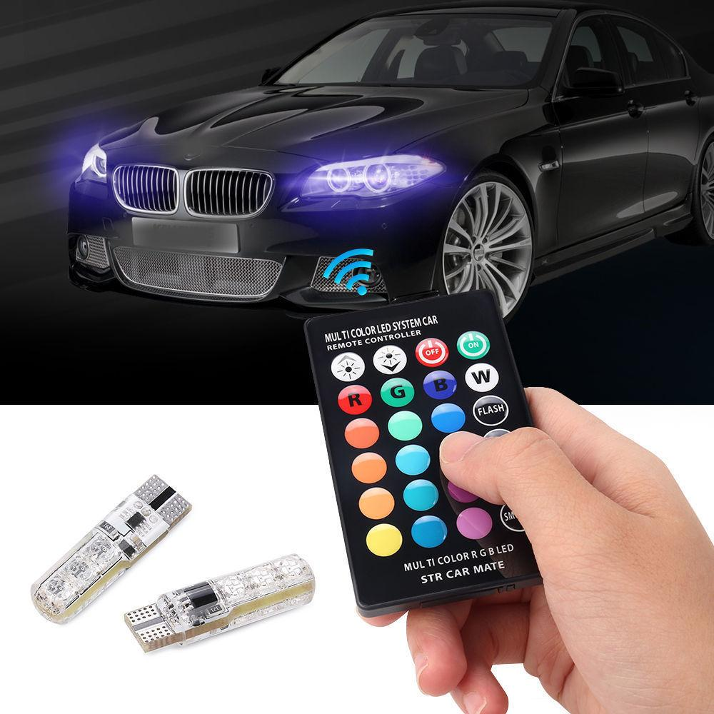 Led Lights For Cars >> Pair T10 5050 Remote Control Car Led Bulb 6 Smd Multicolor W5w 501