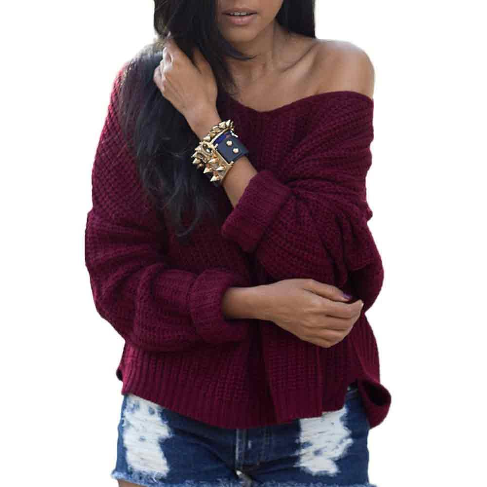 c58da94fac 2019 Womens Long Sleeve Loose Knitted Sweater Casual Jumper Tops V Neck  Oversized Cardigan From Rachaw