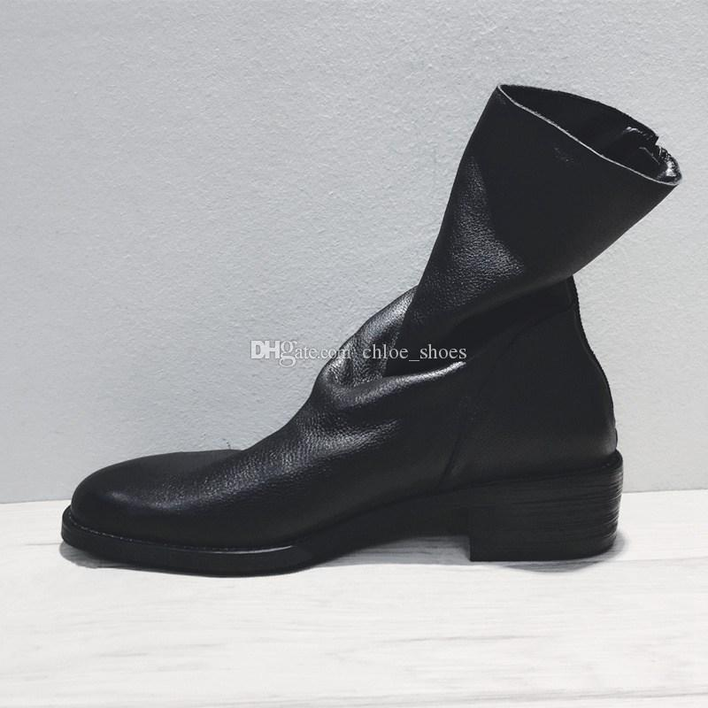 British Style Vintage Martin Boots Back Zipper Wrink Leather Boots Womens Shoes