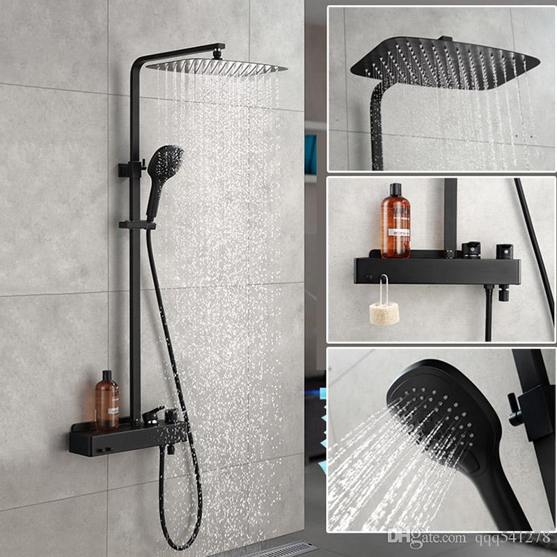 Delicieux 2019 Matt Black Bathroom Rain Shower Set System Wall Mounted Mixer Bath  Shower Faucet With Hook And Placement Platform From Qqq541278, $356.79 |  DHgate.Com