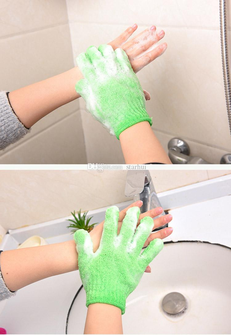 Exfoliating Bath Glove Five Fingers Bath Bathroom Accessories Nylon Bath Gloves Bathing Supplies Free DHL WX9-435