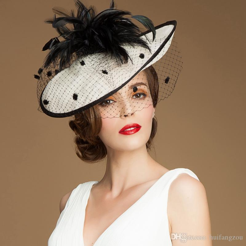 92a3454956b73 Vintage Lady Black And Ivory Hat Perfect Birdcage Headpiece Head Veil  Feather Wedding Bridal Accessories Party Women Bride Fascinator Hat Ladies  Day Hats ...