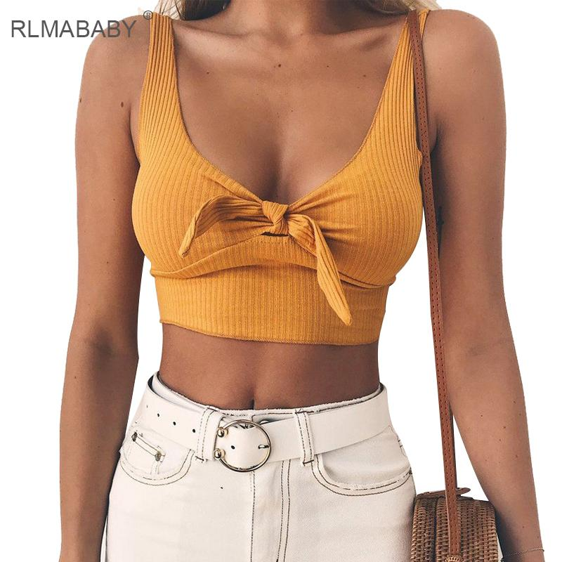 d2195cba1b062 2019 RLMABABY 2018 Summer Bandage Bow Yellow Women Crop Top Sexy Deep V Neck  Sleeveless Lace Up Red Tank Top Beach Party Pink Tops From Ferdinand07