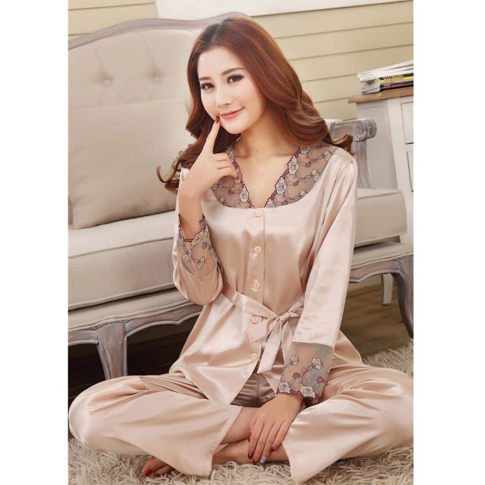 Cheap Women  s Pajamas Set Bandage Casual Nightwear Sexy Lace Satin Silk  Sleepwear Women Long Sleeve Shirt+Pants Pajama Femme 3b848fe8d