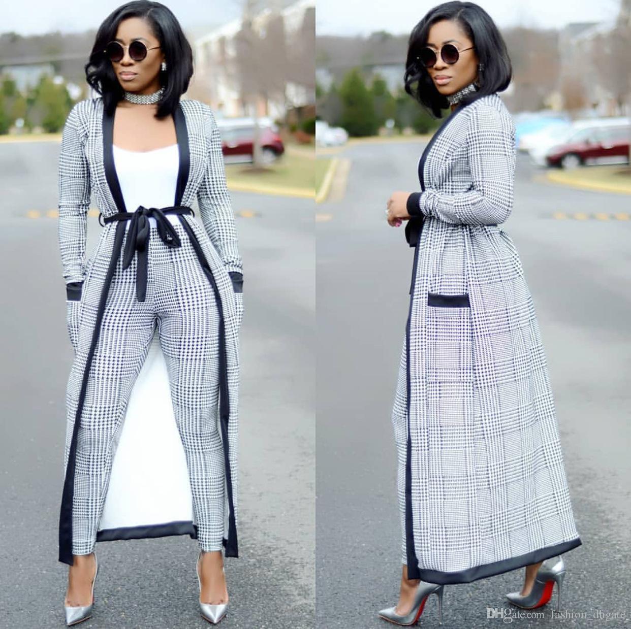 50cfd4b2be7bc Acheter Nouveau Contraste Couleur Plaid Mode Femmes Trois Pièces Ensemble À  Manches Longues Sur Long Style Outwear Blanc Cami Débardeur Long Pantalon  ...