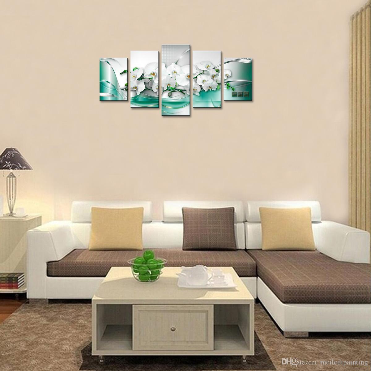 5 Piezas Pintura de la Lona Flores de Orquídeas Blancas Arte de la Pared Pintura Fondo de la Cinta Verde Arte de la Pared Para La Decoración Casera con Regalos Enmarcados De Madera