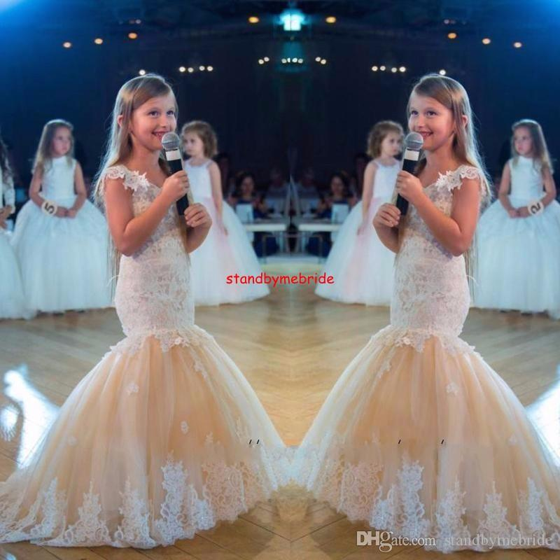 Princess Lace Flower Girls Dress Vintage Champagne Sexy Mermaid Girls Pageant Dresses V-Neck Lace 2018 First Communion Gowns Vintage Kids