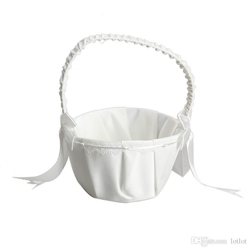 Wedding Basket Flower Girl Basket for Ceremony Wedding Decoration Love Case SatinGirl Basket Container